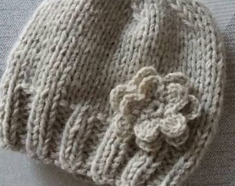 Baby Knit Hat, Baby Hat, Baby Winter Hat, Baby Hat With Flower