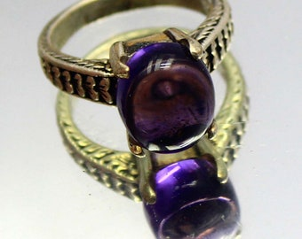 27.25Ct Certified US Size-7 Finest Purple Cabochon Amethyst Ring Gems 925 Sterling Silver AQ2252