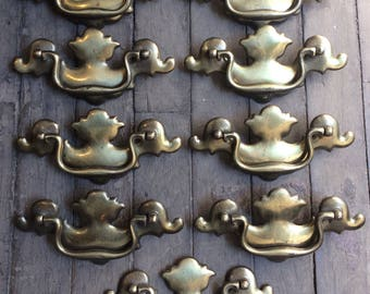 Vintage Set / Lot of 9 Nine Brass KBC Ornate Dresser Drawer Pulls, Pull Handles, Drawer Hardware