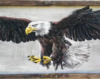Eagle in Flight, Original Painting, Flying Bird, Animal Nature, Original Art