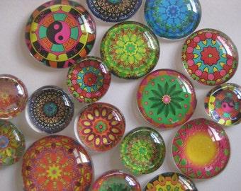 "Mandalas Glass Fridge Magnet Set (12) strong magnets mandalas in three sizes 1/2"" 1' and 1 1/8"""