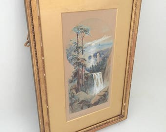 Antique Watercolor Painting Framed Picture - Vintage Gold Frame Original Painting California Artist Original Art Painting Framed Watercolour