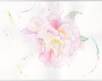 Original Painting Watercolor Botanical Flower Art Peony