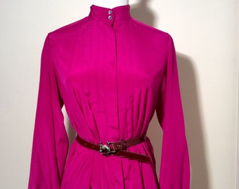 Vintage 80s Super Bright Magenta/Neon Pink Blouse by Jack Mulqueen! Hot Lady