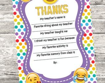 Emoji Teacher Questionnaire Printable Digital INSTANT DOWNLOAD