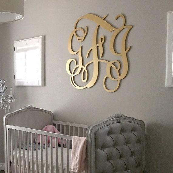 Wooden Monogram Large Wood Monogram Wall Hanging Letters - Monogram wall decal for nursery