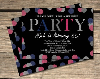 Glitter Glam Party Invitation - 5X7