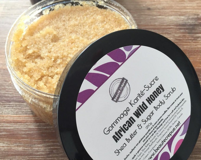 Shea Butter and Sugar Body Scrub with African Wild Honey and Lemon essential oil- 250g