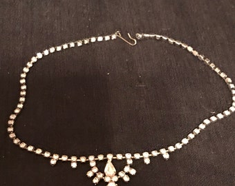 Vintage Necklace Rhinestone Choker 14 inch Vintage Jewelry
