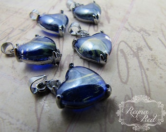 Royal Blue Cats Eye Glass Heart Charms, pendant, heart focal, Valentines Day pendant, love, romance, beading supplies -reynared