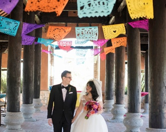 SALE - (12 tissue and 12 plastic) Wedding Garland Banner AMOR VARIETY Papel Picado Fiesta flags - Mexican Tissue Paper Flags