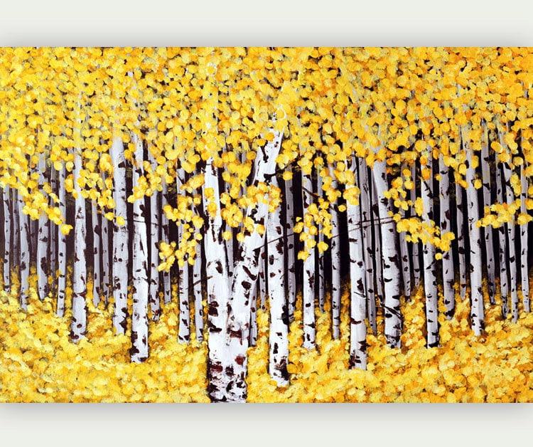 Birch Tree Print Giclee Print Yellow Birch Painting Aspen