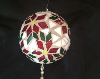 Poinsettia Stained Glass Mosaic Ornament