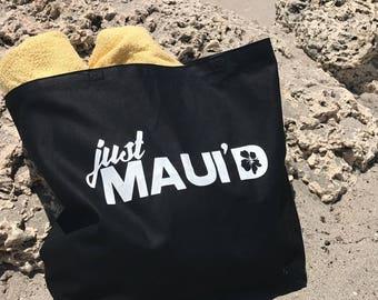 Honeymoon Tote Bag - Just Maui'd - Honeymoon Beach Bag - Honeymoon Gift - Bride Tote for Beach Wedding - Hawaii Wedding Gift - Maui Tote Bag
