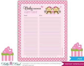 Twins Monkeys Guest Gift List , Guest Sign In Sheet Card For Baby Shower ...