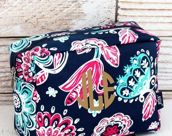 Summer Blooms Cosmetic Case/ Makeup Bag/ Travel Bag/ Gift for Teen/ Bridesmaid Gift/ Bridal Party Gift