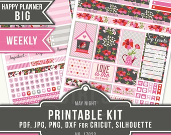 May Planner Stickers, Big Happy Planner Stickers, Weekly Planner Kit, Flower Planner Stickers, May Weekly Kit, Big MAMBI May, 17023