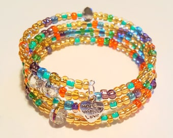 Multicolored Beaded Bracelet, Boho Style, Coil Beaded Bracelet, Memory Wire Wrap Bracelet, Handmade, Custom, Beaded Jewelry, Women's Jewelry