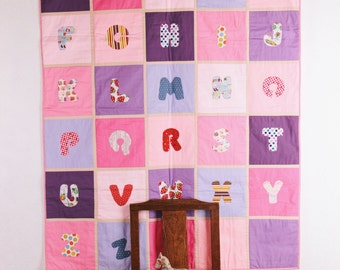 Baby alphabet quilt, organic blanket, wall hanging, alphabet blanket