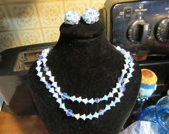 Blue Rivoli Crystal Double Strand Flower Necklace and Earrings Set