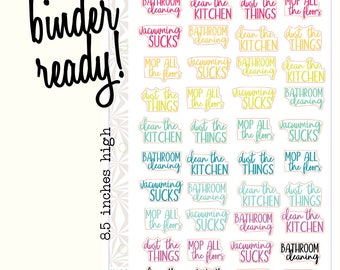 Cleaning Colorful Planner Stickers | Cleaning Script Stickers | Typography Stickers (#282)