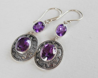 Sterling silver Dangle Earrings Amethyst gemstone / Silver 925 / Granulation Handmade Jewelry / 2 inches long