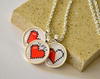 Pixel Heart Pendant Necklace - 3 Pendants - Zelda 8bit 16bit style, piece of heart, gamer jewelry, friendship necklace, video game heart
