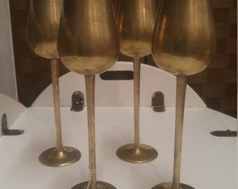 Vintage Brass Tall Wine Goblets, Set of four (4), Made in India