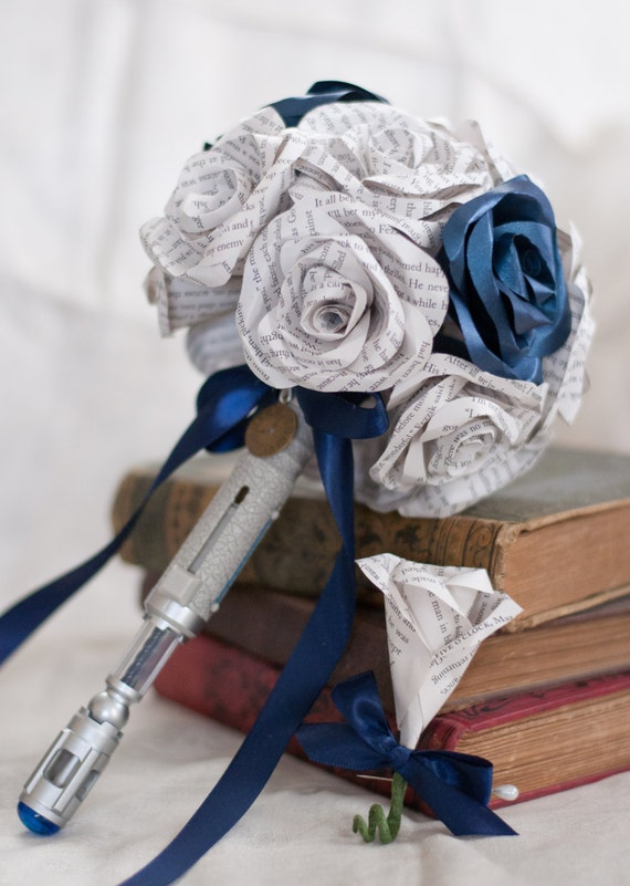 Dr. Who Sonic Screwdriver Handled Paper/Book Page Flower