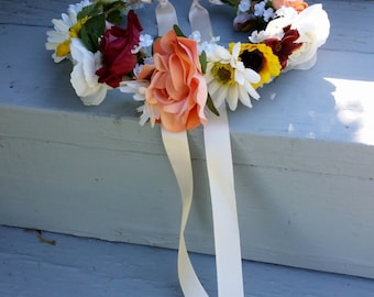 Custom Fall flower crown rust sunflower  Bridal large Floral hair wreath Made to Order autumn Music Festival halo Wedding Accessories halo