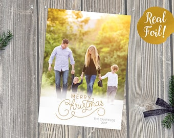 Foil Christmas Photo Card | Holiday Card | Photo Christmas Card | Gold Foil Pressed Merry Christmas | Holiday Greeting Card | Rejoice