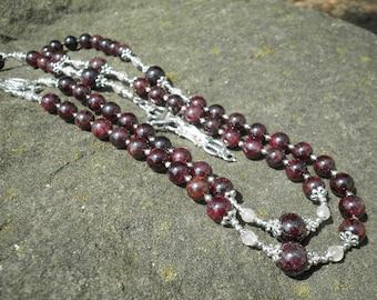 Classic Rosary - Garnet with Rose Quartz
