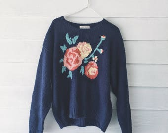 Cozy winter blue knit sweater - floral rose pattern