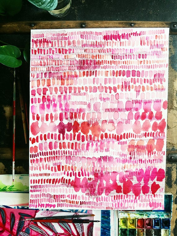 Original watercolor and ink painting on paper Pink and Red Patterns artwork by Paula Mills