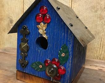 Rustic folk art birdhouse, pine barn siding, recycled, re-purposed, old barn tin, vintage, flea market decor