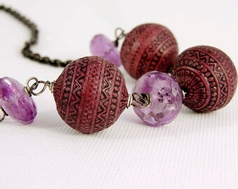 Boho Chic Necklace, Purple Amethyst Necklace, Vintage Moroccan Wire Wrapped Jewelry Gifts for Her Under 35