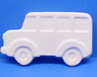 Ready To Paint/DIY/Plaster/ChalkWare/PlasterCraft Flat Back Magnet School Bus Van #521
