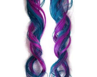 READY TO SHIP Rainbow Clip in Human Hair Extensions Pastel Pink Purple Blue Aqua Colorful Mermaid Highlight Hair Style