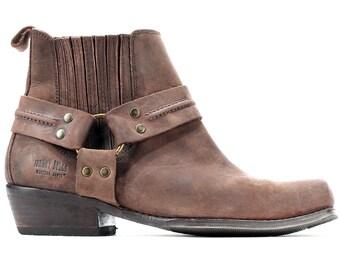 US men 8 Chelsea Boots 80s Brown Western Vintage Cowboy Real Leather Ankle Cowboy Booties Distressed Buckle Boot Uk 7.5 Eur 41 sku 6117
