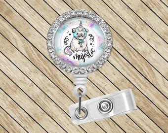 Pug, Pugicorn, Badge Holder, Rhinestone, Retractable, ID Badge Reel, Badge Reel, Badge Clip, Nurse Gift, Cute Badge Reel, Felt Badge Reel
