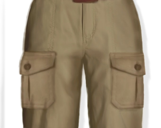 Safari style, women's shorts, 4 patterns for 4 different sizes
