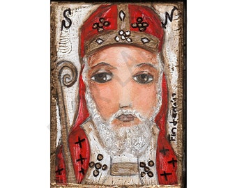 Saint Nicholas  - Print  from Painting by FLOR LARIOS (6 x 8 INCHES)
