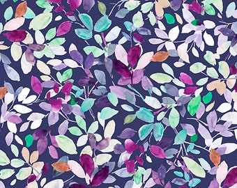 Jacqueline Leaves Dark Grape 26559-V by QT Fabrics Cotton Fabric Yardage