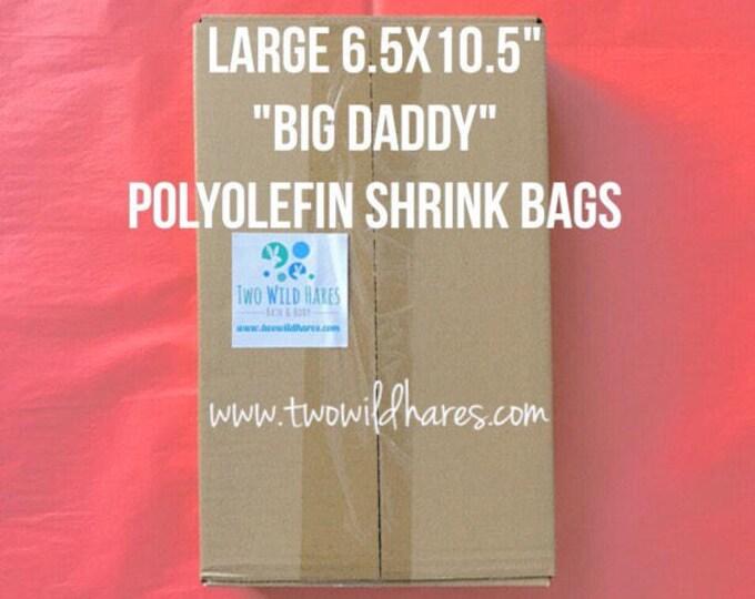 """500-LG 6.5x10.5"""" POLYOLEFIN Shrink Bags (Smell Thru Plastic) 75 g, Fits 4"""" Big Daddy Bath Bomb!"""