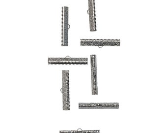 35mm or 1 3/8 inch Gunmetal Ribbon Clamps End Crimps - Artisan Series - 50 pieces