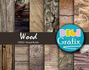 SALE Wood Digital Paper - Rustic Wood, Rustic Wood Digital Paper, Printable Paper, Rustic Wood Birthday Party, Wood papers