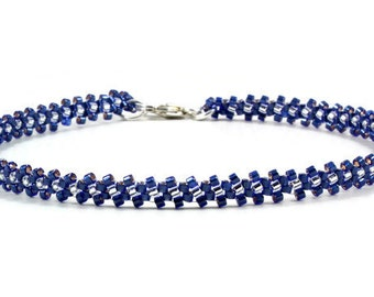 Sapphire Blue Anklet - Chain Ankle Bracelet - Seed Bead Jewelry - Summer Beaded Anklet - Daisy Chain Foot Jewelry