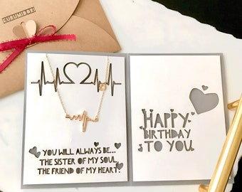 ECG Heartbeat Necklace with Personalized Birthday Card for Best Friend, Custom BFF Friendship Jewelry Gift, Pulse Pendant for Nurse New Mom