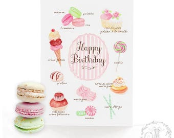Happy Birthday card, French pastry, cake card, macaron watercolor illustrations, blank inside