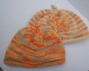 Peach and Beige Set of Handknitted Baby Hats Gift for Baby to Grow by hipknitta